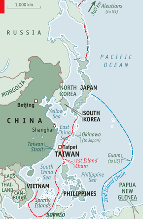 Approches maritimes chinoises. (c) The Economist